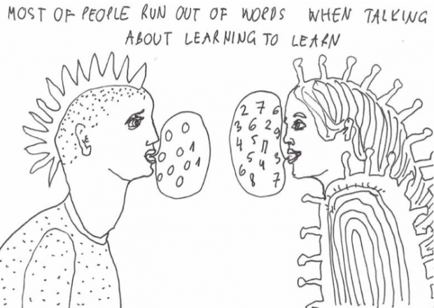 Illustration of two characters talking to each other