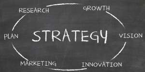 Strategy written on a black board