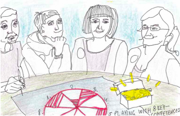 Illustration of people sitting round a table